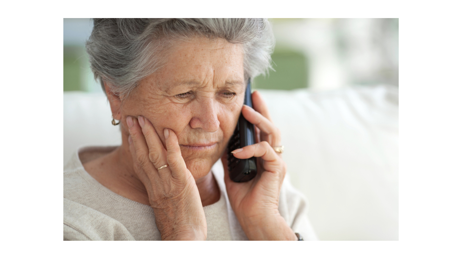 aging woman on phone